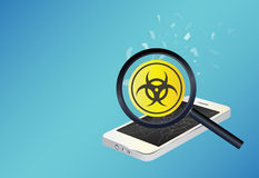 Smartphone device infected virus Stock Images