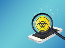 Smartphone device infected virus Stock Image