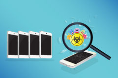 Smartphone device infected virus Royalty Free Stock Images