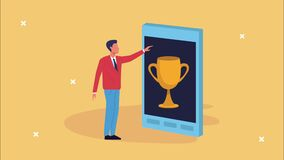 Smartphone device with man and trophy ecommerce technology