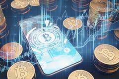 Smartphone di Bitcoin sulla tavola, bitcoins reali Illustrazione di Stock