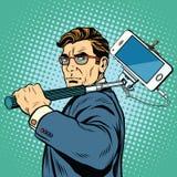 Smartphone di blogger dell'uomo di Selfie illustrazione di stock