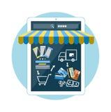 Smartphone di concetto di acquisto di Internet con la tenda Immagine Stock Libera da Diritti