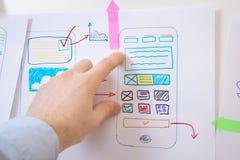 Smartphone di progettazione del App Progettista di Ui Ux fotografie stock libere da diritti