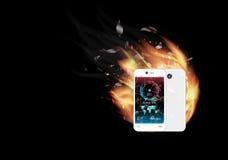 Smartphone di vetro rotto dello schermo con l'interfaccia della prova di velocità ed il fuoco bruciante illustrazione vettoriale
