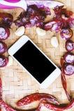 Smartphone di vista superiore con la raccolta delle cipolle e dei chilis freschi Fotografia Stock Libera da Diritti