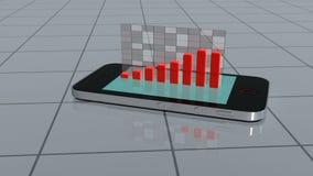 Smartphone-dia's op tegels en projecten een grafiek royalty-vrije illustratie