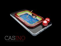Smartphone with dices. Online casino concept. Isolated black background. 3d Illustration.  Stock Photo