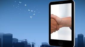 Smartphone die een handdruk tonen stock videobeelden
