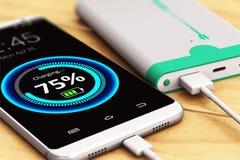 Smartphone die met machtsbank belasten vector illustratie