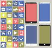 Smartphone with different icons Stock Image