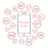 Smartphone with different messages in speech bubbles Royalty Free Stock Photos