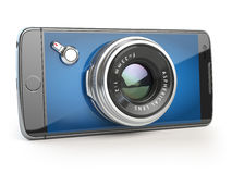 Smartphone digital camera concept. Mobile phone with camera lens. On white. 3d illustration Royalty Free Stock Photo