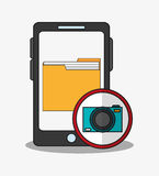 Smartphone and digital marketing design. Smartphone file and camera aicon. digital marketing media and seo theme. Colorful design. Vector illustration Stock Photography
