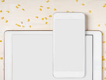 Smartphone, Digital tablet, Alphabet noodles, Cooking app Royalty Free Stock Photo