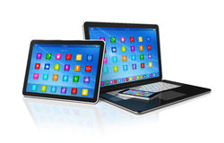 Smartphone, Digital Tablet Computer and Laptop Stock Images
