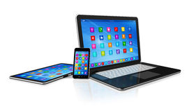 Smartphone, Digital Tablet Computer and Laptop Stock Photo