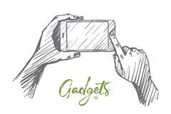 Smartphone disegnato a mano in mani umane, segnanti Immagine Stock