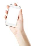 Smartphone a disposición con la pantalla en blanco imagen de archivo libre de regalías