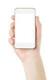 Smartphone a disposición con la pantalla en blanco imágenes de archivo libres de regalías