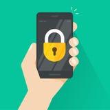 Smartphone a disposizione con l'icona della serratura sul vettore dello schermo, telefono cellulare bloccato illustrazione vettoriale