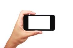 Smartphone a disposizione isolato Fotografia Stock Libera da Diritti