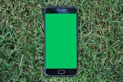 Smartphone do close-up com a tela verde para a tela chave do croma no smartphone do fundo da grama verde com Imagens de Stock Royalty Free