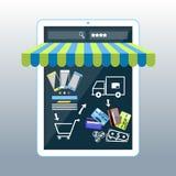 Smartphone do conceito da compra do Internet com toldo ilustração stock