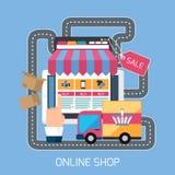Smartphone do conceito da compra do Internet com toldo ilustração do vetor