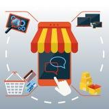 Smartphone do conceito da compra do Internet com toldo ilustração royalty free