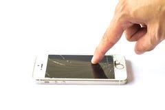 Smartphone do toque do dedo da mão no fundo branco Imagens de Stock