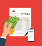 Smartphone document paymet financial item. Smartphone document bills coins payment financial item icon. Invoice design, vector illustration Royalty Free Stock Photo