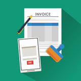 Smartphone document paymet financial item. Smartphone document payment financial item icon. Invoice design, vector illustration Stock Images