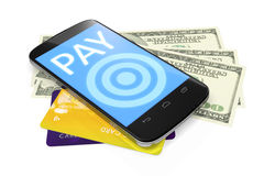 Smartphone, dollar notes and credit cards for mobile payment Royalty Free Stock Photo