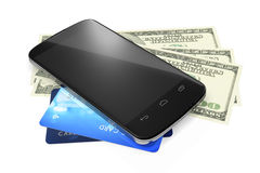 Smartphone, dollar notes and credit cards for mobile payment Stock Image