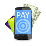 Smartphone, dollar notes and credit cards for mobile payment Stock Images