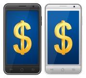 Smartphone dollarsymbol Fotografering för Bildbyråer