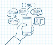 Smartphone Doodles - Communication and Internet Stock Images