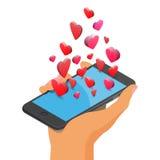 Smartphone dos ícones do coração Foto de Stock
