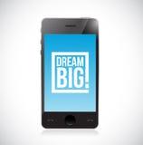 Smartphone dream big square message Stock Photo