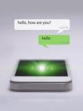 Smartphone e ícones da mensagem Fotografia de Stock Royalty Free