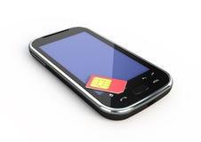 Smartphone e cartão do sim Foto de Stock Royalty Free