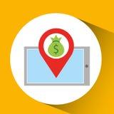 Smartphone e-commerce bag money pin Stock Photography