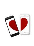 Smartphone e cuore rotto Fotografia Stock Libera da Diritti