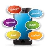 Smartphone e ferramentas da mensagem do app Imagem de Stock Royalty Free