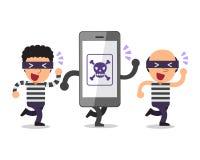 Smartphone e ladri del fumetto Immagine Stock Libera da Diritti