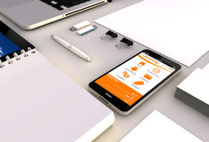 Smartphone e-learning office Royalty Free Stock Images