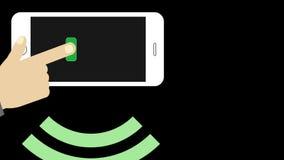 Smartphone e mano che inviano messaggio senza fili illustrazione vettoriale