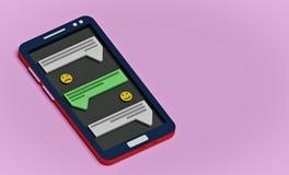 Smartphone e messaggi, rappresentazione 3d illustrazione vettoriale