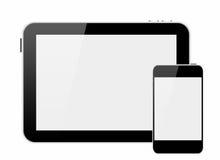 Smartphone e pc della compressa con lo schermo in bianco Fotografia Stock